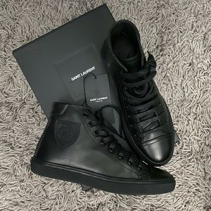 Saint Laurent Leather High Top Bedford Sneakers